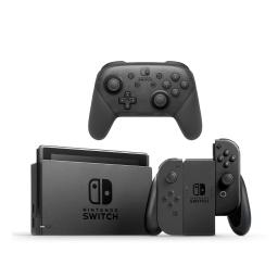 Nintendo Switch Gray Console with Joycon Wireless Controls and Pro Controller