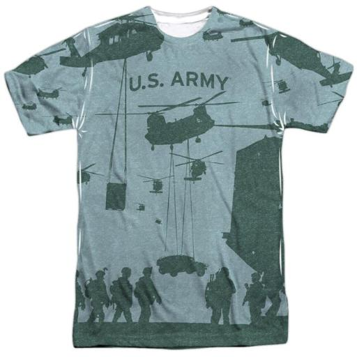Trevco AR122FB-ATPP-5 Army & Airborne Front & Back Print-Short Sleeve Adult Poly Crew T-Shirt, White - 2X