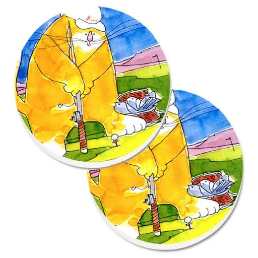 Big Cat golfing with a fishing pole Set of 2 Cup Holder Car Coaster