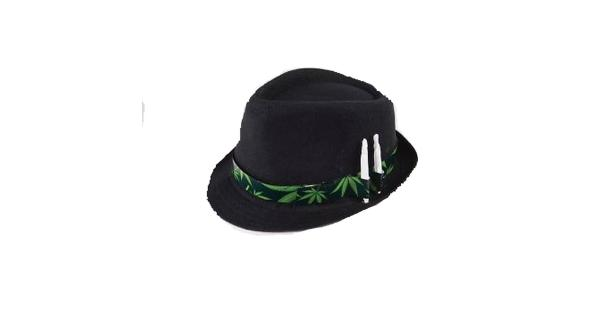 ef32c46cd7a2c Marijuana Leaf Black Fedora With Joint Holder Hat Costume Stoner ...