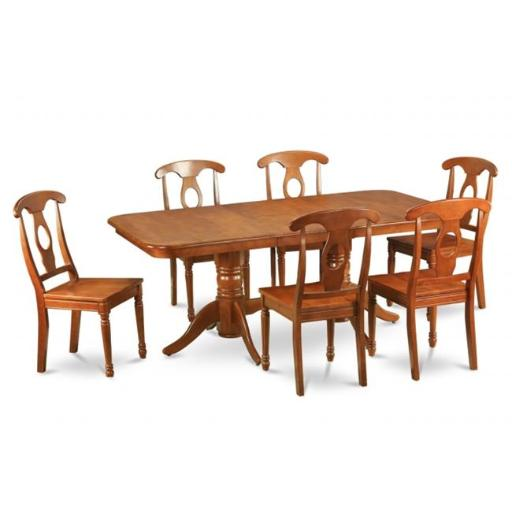 East West Furniture NANA5-SBR-W 5 Piece Dining Set Dining Table and Chair Set Having Oval Table With Leaf and 4 Dining Chairs