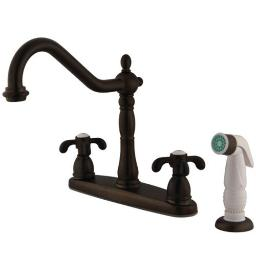 Kingston Brass French Country Double Handle 8 Centerset Kitchen Faucet with Whit KB1755TX