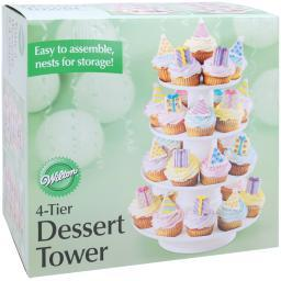 "4-Tier Dessert Tower-White 16.25""X12"" Holds 36 Cupcakes W307856"