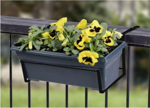 Panacea 89054 Black Over the Deck Adjustable Flower Box Holder