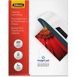 Fellowes, inc. 5245301 glossy pouches-imagelast, letter, 5mil, 200 pack