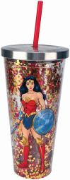 Spoontiques 21305 wonder woman glitter cup w/str