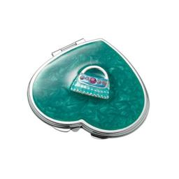 Aeropen International M-45 Green Heart Iron Compact Mirror With Purse Ornaments And Epoxy Top