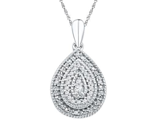 Diamond Teardrop Pendant 1/10 Carat (ctw) in Sterling Silver with Chain