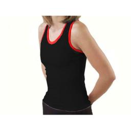 Pizzazz Performance Wear 9800T -BLKRED-2XL 9800T Adult Racer Back Top with Trim - Black with Red - 2XL
