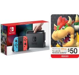 Nintendo Switch Neon Console with Joycon Wireless Controls and $50 eShop Gift Card