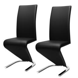 2 Pcs High Back W/U - Shaped PU Leather Dining Chairs