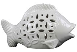 "Urban Trends  Ceramic Fish Figurine with Cutout Sides Gloss Finish White - 6.5""H"