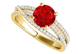 Ruby and CZ Criss Cross Design Ring in 14K Yellow Gold
