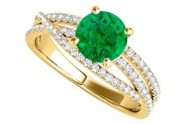 Criss Cross Design Ring with Emerald CZ 1.50 CT TGW