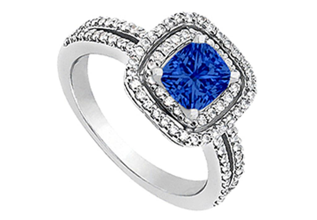 14K White Gold Engagement Ring with Created Blue Sapphire and CZ 1.20 Carat Total Gem Weight