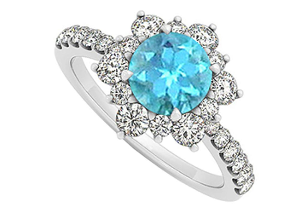 14K White Gold December Birthstone Blue Topaz and Cubic Zirconia Floral Engagement Ring