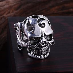 Punk Vintage Trend Men's Ring Gothic Men Skull Flower Biker Zinc Alloy Ring - 11, sa980