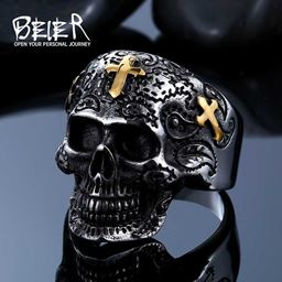 316L Stainless Steel ring biker skull ring men - 9, Gold