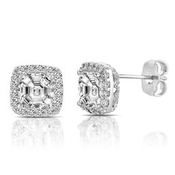 Rozzato Jewelry Sterling Silver Rhodium Plated C.Z. Square Shape Asscher Cut Earrings