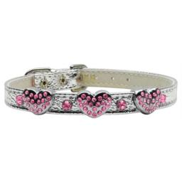 Mirage Pet Products 1 and 3 Heart Silver Pet Collars with Pink Hearts, 1 Heart, Size 16