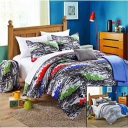 Chic Home Heroes 4-Piece Reversible Comforter Set with Shams and Decorative Pillows, Twin Size