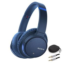 Sony WH-CH700N Wireless Noise Canceling Headphones (Blue) w/Carrying case (with Removable Insert for Larger Headphones) and Audio Cable