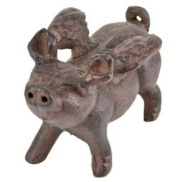 Whimsical Cast Iron Flying Pig Statue