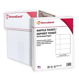 DocuGard Perforated Paper for Deposit Tickets, Raffle Tickets, and More, Tear-Away Stubs, 8.5 x 11, 24 lb, 4 Perfs, 500 Sheets, White (04289) (Pack of 5)