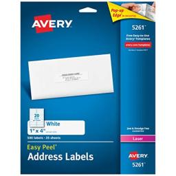 """Avery Address Labels with Sure Feed for Laser Printers, 1"""" x 4"""", 500 Labels, Permanent Adhesive (5261), White"""