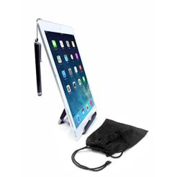 CTA Digital Travel Kit with Foldable Stand, Microfiber Pouch and Stylus for Tablets and Smartphones, Including iPhone 11, iPhone 11 Pro, iPhone 8, iPhone X, iPad Mini 5 & More (PAD-TKS)