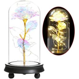 Galaxy Rose Glass Rose Flower Forever Rose 24k Colorful Rose Best Gifts for Women Christmas WeddingValentines Day Anniversary and Birthday(Colorful)