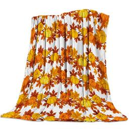 Flannel Throw Blanket,Luxury Lightweight Cozy Couch Bed Super Soft and Warm Plush Fleece Microfiber Throw Blanket,Thanksgiving Fall Pumpkin Maple Leaves (50 x 80 Inches)