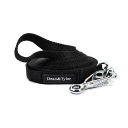 Dean and Tyler DT Track Nylon Tracking Dog Leash, Black 140-Feet by 3/4-Inch With Herm Sprenger Quick Release Hardware