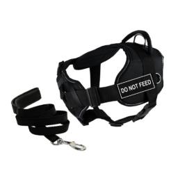 """Dean & Tyler's DT Fun Chest Support """"DO NOT FEED"""" Harness with Reflective Trim, Medium, and 6 ft Padded Puppy Leash."""