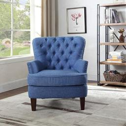 Bentley Button Tufted Accent Chair, 31 W x 35 D x 37.5 H, Blue