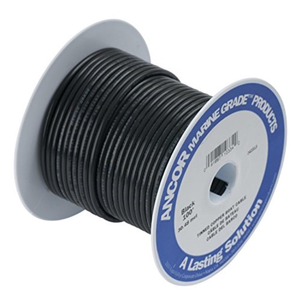 Ancor wire, 100' #1 tinned copper, black