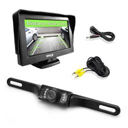 """Pyle Backup Rear View Car Camera Monitor Screen System Kit - Parking & Reverse Safety Distance Scale Lines, Waterproof, Night Vision, 4.3"""" LCD Video Color Display for Automotive Vehicles - (PLCM46)"""