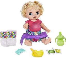 Baby Alive Happy Hungry Baby Blond Curly Hair Doll, Makes 50+ Sounds & Phrases, Eats & Poops, Drinks & Wets, for Kids Age 3 & Up, Brown/A (E4894)