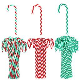 GFSDD 60 Pieces Christmas Plastic Candy Cane Twisted Christmas Candy Cane Christmas Tree Hanging Ornaments for Christmas Decoration3 Colors