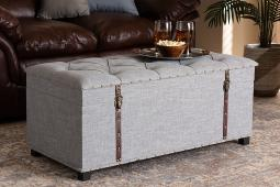 Baxton Studio Kyra Modern and Contemporary Grey Fabric Upholstered Storage Trunk Ottoman