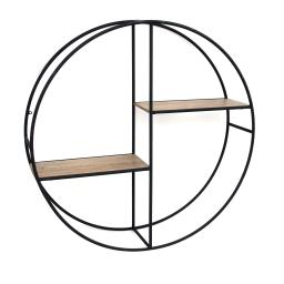 Round Metal Frame Wall Shelf with 2 Display Cases, Black