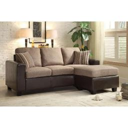 Dual-Tone Reversible Sofa Chaise With Two Accent Pillows, Brown