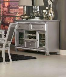 Wooden Dining Server With 3 Drawers And 2 Glass Door Cabinets, Silver