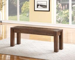 Acacia Wood Bench with Tenon Corner Joints and Block Legs, Brown