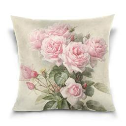 ZOEO Square Decorative Throw Pillow Case Cushion CoverVintage Shabby Chic Pink Rose FloralSoft Pillowcase 20x20 inch
