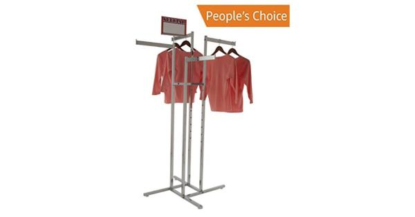 Clothing Rack - Chrome 4 Way Rack Adjustable Height Blade Arms Square Tubing Perfect for Clothing Store Display With 4 Straight Arms Clothing Rack - Chrome 4 Way Rack Adjustable Height Blade Arms Square Tubing Perfect for Clothing Store Display With 4 Straight Arms