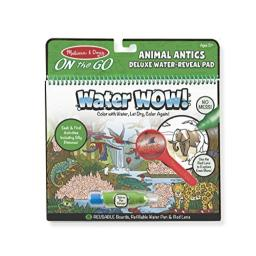 Melissa & Doug On the Go Water Wow! Animal Antics Deluxe Reusable Water-Reveal Activity Pad, Chunky-Size Water Pen