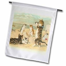 3dRose Fl_48557_1 Cats at The Beach Garden Flag, 12 by 18-Inch