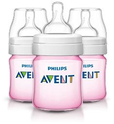 Philips Avent Anti-colic Baby Bottles Pink, 4 Ounce (3 Count)