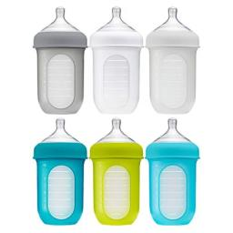 Boon, NURSH Reusable Silicone Pouch Baby Bottles for Air-Free Feeding with Stage 2 Medium Flow Nipple, 8 Ounce (Pack of 6)